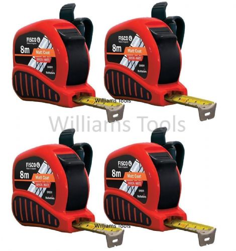 4 x Fisco BrickMate Tape Measure 8m Brick Block Courses 25mm Blade Metric Builders